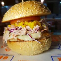 Chicken Coleslaw And Sweetcorn Relish Burger